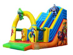 Check out this superheroes theme inflatable slide. This time, assemble the hulk, batman, iron man, captain America and Thor together to save the world. Inflatable Slide, Hulk, Thor, Captain America, Iron Man, Batman, Commercial, Popular, Capitan America