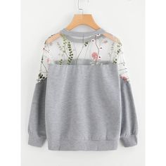 SheIn(sheinside) Embroidery Mesh Paneled Marled Sweatshirt (330 ARS) ❤ liked on Polyvore featuring tops, hoodies, sweatshirts, grey pullover, mesh top, gray sweatshirt, embroidered top and pullover sweatshirts