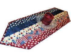Batik Patriotic Table Runner 12 x 36 Binding for Labor Day July 4th Memorial Day Veterans Day Navy Blue Back /& Border