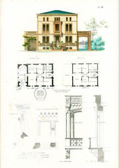 1854 maison moderne de ville plans darchitecte format a3 gravure ancienne esquisse dessin plan - Plan D Architecte De Maison