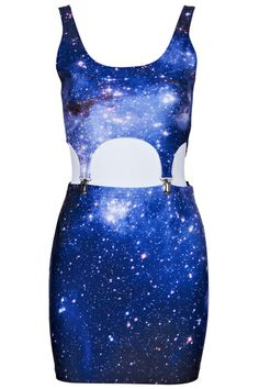 Detachable Purple Galaxy Print Dress  #ROMWE