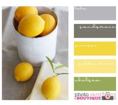 Pinned for Joan- EXACTLY how I want my kitchen someday. grey   yellow   a little hint of green color inspiration for kitchen, living/dining room and staircase leading into upstairs hallway