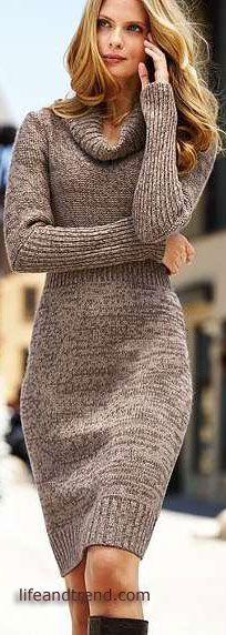 I've been curious to try a sweater dress over leggings for work - I've never worn either - I like the length on this and the neck (I don't wear tight turtle necks) - the color might work Winter Sweater Dresses, Sweater Dress Outfit, Winter Sweaters, Dress Outfits, Fall Outfits, Dress Winter, Dress Boots, Turtleneck Dress, Outfit Winter