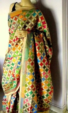 Multicolored geometric patterned kantha stitch on silk saree Indian Attire, Indian Wear, Indian Dresses, Indian Outfits, South Silk Sarees, Desi Wear, Handloom Saree, Beautiful Saree, Saree Collection
