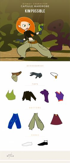 Here's the sitch: Kim Possible has a seriously cool wardrobe. We've sorted her fashion highlights into a capsule collection infographic.