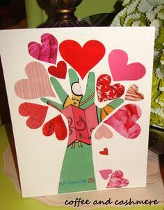 Tree of hearts. Fun kid craft idea! Keepsake for parents! coffeeandcashmere.com