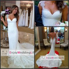 2014 Sexy New Cap Sleeves Lace Mermaid Wedding Mermaid Wedding Dresses   Buy Wholesale On Line Direct from China