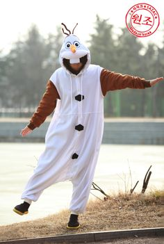 Olaf Frozen Adult Costume Animal Kigurumi Pajamas Unisex Cosplay Onesie Disney !! Wow+_+!!