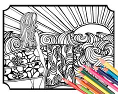 Surfer Girl Coloring Page Digital Download Beach By MellowMermaid PagesAdult ColoringColoring BooksBeach