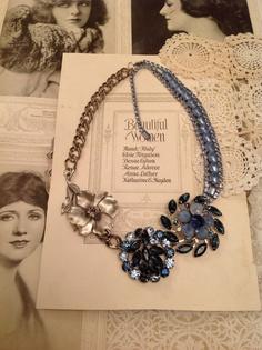 Vintage Blue Rhinestone Brooch Statement Necklace $75