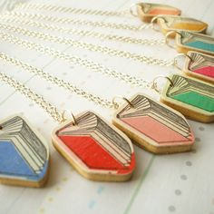 Wooden Book Pendant Necklace  Available in 8 by lucie0ellen, £9.00