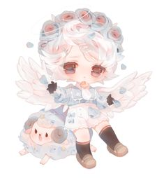 Chibi commission for Thank you so much for commissioning me! Chibi Boy, Cute Anime Chibi, Kawaii Chibi, Kawaii Art, Kawaii Anime, Chibi Characters, Anime Angel, Character Design Inspiration, Character Illustration