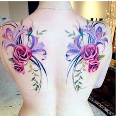 Pink Rose Women Back Tattoo, Blue Lavender Flower Tattoo, Flower Of Lavender Rose Back Tattoos, Girls Back With Rose Flower Tattoos Back Tattoos, Great Tattoos, Rose Tattoos, Sexy Tattoos, Beautiful Tattoos, Flower Tattoos, Body Art Tattoos, Tattoos For Women, Awesome Tattoos