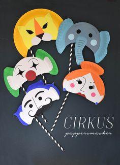 Kalastips   Göra masker för barn av papperstallrikar med cirkustema