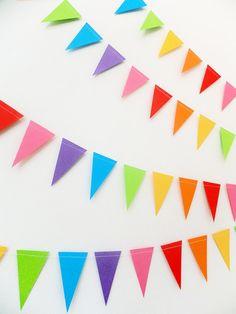 Paper Garland Mini Rainbow Bunting Flags 20ft by FunkyFrillsUK