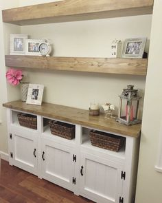 Add some storage and beauty to your dining room with a matching hutch. diy Dining room hutch Two toned hutch - Pine+Main Dining Table In Living Room, Dining Room Storage, Dining Room Hutch, Dining Room Design, Kitchen Buffet Table, Kitchen Sideboard, Buffet Hutch, Dining Nook, Small Dining