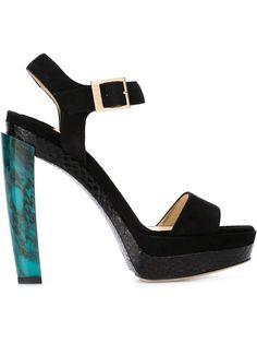 Dora Black Suede Marbled Heel Sandal, 130mm