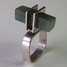 Vintage Modernist Sterling and Nephrite Ring, American Studio Finegem '70s