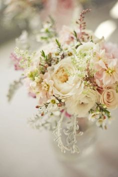 bridal bouquet: rustic flowers - not too much pink. could finish off with some burlap and small amount of lace. Wedding Centerpieces, Wedding Bouquets, Wedding Flowers, Wedding Decorations, Perfect Wedding, Our Wedding, Dream Wedding, Beige Wedding, Chic Wedding