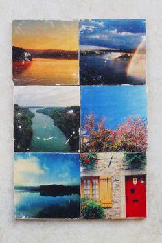 DIY wooden instagram photo transfer coasters