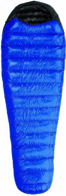 "Western Mountaineering Ultralite Mummy Sleeping Bag. Full-length #5 YKK Zipper, Full Down Collar 5 1/4"" Spacing/Continuous Baffles 59""/38"" (6'0""), 60""/38"" (6'6"") Shoulder/Foot Girth 5"" Loft, 20° F, 16 oz. Down Fill 1 lb. 15 oz. Total Weight"