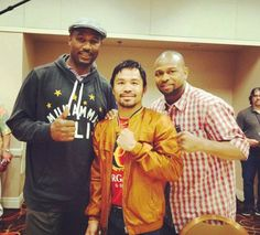 Boxing legends Lennox Lewis, Manny Pacquiao and Roy Jones, May 1, 2015.