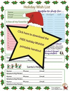 Download the Holiday Wish List Handout- this will be great for ...