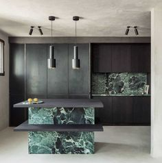 Arjaan de Feyter kept a material palette of blackened steel, dark walnut and deep-green marble to create this pared-back office for a lawyer near Antwerp. Office Interior Design, Office Interiors, Jewel Tone Decor, Dark Green Kitchen, Relaxing Colors, Shaker Style Kitchens, Green Cabinets, Latest Colour, Minimal Decor
