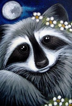 raccoon paintings | LOVELY RACCOON WITH FLOWERS - by Cyra R. Cancel from Gallery