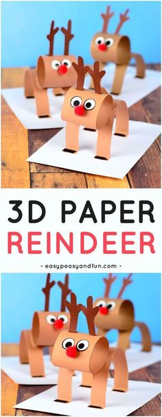 3D Construction Paper Reindeer Craft for Kids. A super fun Christmas craft idea for kids to make. #Christmascrafts #reindeercrafts