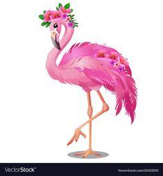 Beautiful bird pink flamingo with flowers isolated Flamingo Clip Art, Flamingo Tattoo, Flamingo Pictures, Flamingo Costume, Flamingo Illustration, Flamingo Wallpaper, Wall Stencil Patterns, Flamingo Birthday, Pink Bird