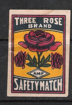 Old Matchbox Label Small Box Size India Three Rose | eBay