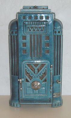 antique French art deco woodburner stove.