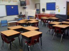 I like this set up for the desks in the classroom because none of the desks are side by side, allowing each student have their own personal space.  When desks are side by side, or students share table space, it is much easier for bickering to occur over one's personal space.  This way, students cannot put their objects on others desks.  -Michael Hecht