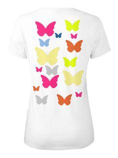 Farfalle T Shirt Donna White Maglietta da Donna Back