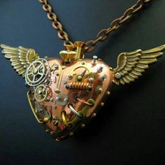 Steampunk flying mechanical heart