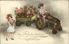 Petersen Hannes Geburtstag Traktor Kinder Blumen Kat. Kuenstlerkarte 0