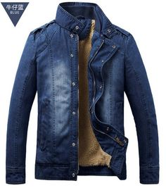 New Fashion Men'S Outerwear Winter Thick Velvet Velvet Washed Denim Jacket Male Cotton Padded Denim Coat Free Shipping H1108