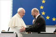 Pope Francis and EP president Martin Schulz greeting each other at the European Parliament in Strasbourg