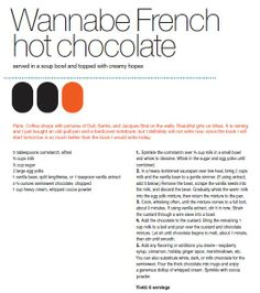 Wannabe French Hot Chocolate from Max Brenner's Love Story Recipe Book