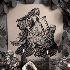 Witches' Night by Poison Apple Printshop Blackwork, Witches Dance, Symbole Viking, Witch Drawing, Three Witches, Witch Tattoo, Witch Art, Book Of Shadows, Dark Art