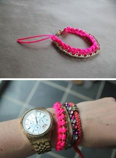 DIY Neon and gold fashion bracelet- looks really easy