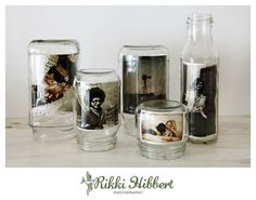 pots cadre photo : http://www.rikkihibbert.co.za/2010/07/16/recycle-reuse-repurpose-glass-jar-photo-frames/