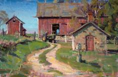 by Daniel F. Gerhartz strikes again.  Compelling composition and beautiful beautiful little bits of color here and there. Watercolor Landscape, Landscape Art, Landscape Paintings, Artist At Work, Beautiful Beautiful, Barn Art, House Painter, John Singer Sargent, Granges