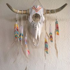Custom Dream catcher skull // co create a dream catcher skull //  bull skull, steer, rainbow tribe, dreamcatcher, turquoise, home decor, gypsy home, bohemian, boho home, crystal, magic, animal medicine