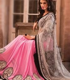 Buy Pink embroidered Rasal Net saree with blouse bollywood-saree online