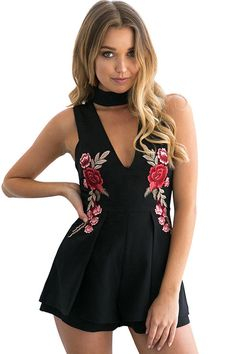 Black Choker V Neck Floral Embroidery Sleeveless Sexy Romper. #romper #black #embroidery