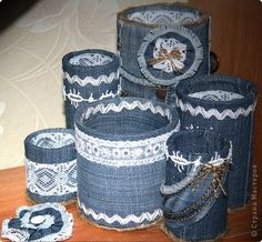 How to make organizer from old jeans - Crazzy Craft Tin Can Crafts, Jean Crafts, Denim Crafts, Diy Home Crafts, Recycled Denim, Recycled Crafts, Tin Can Art, Recycle Cans, Jar Art
