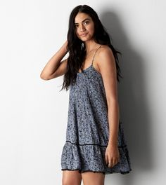 Blue AEO Ruffled Shift Dress