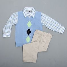 @Overstock - Your boy will look adorable with this Good Lad outfit. A darling argyle sweater vest combines with a plaid button-up shirt and pull-on khaki pants to create this cute, fashionable outfit.http://www.overstock.com/Clothing-Shoes/Good-Lad-Boys-Arglye-Sweater-Shirt-and-Pant-Set/6337720/product.html?CID=214117 $22.99